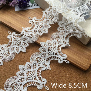 8.5CM Wide Luxury White Water Soluble Lace Exquisite Embroidered Ribbons Collar Applique Trim Curtains Dress DIY Sewing Supplies