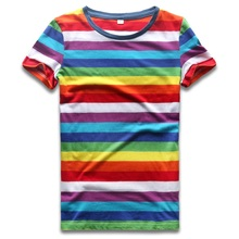 Rainbow T Shirt for Women Colorful Stripe Tshirt Crew Neck Top Tees Woman Short Sleeve Striped Summer Casual