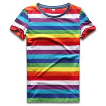 Rainbow T Shirt for Women Colorful Stripe Tshirt Crew Neck Top Tees Woman Short Sleeve Striped Top Summer Casual(China)