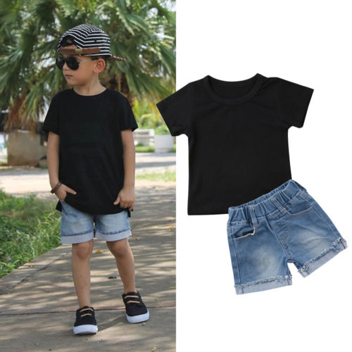 Fashion Kids Baby Boy Short Sleeve Tops T-Shirt+Denim Shorts Clothes Outfits SetFashion Kids Baby Boy Short Sleeve Tops T-Shirt+Denim Shorts Clothes Outfits Set
