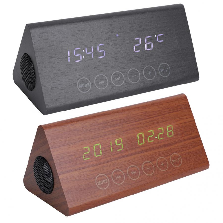 ไม้นาฬิกาปลุกบลูทูธลำโพงไม้อุณหภูมิ/เวลานาฬิกาปลุกวิทยุสีดำสีน้ำตาล-ใน นาฬิกาปลุก จาก บ้านและสวน บน   1