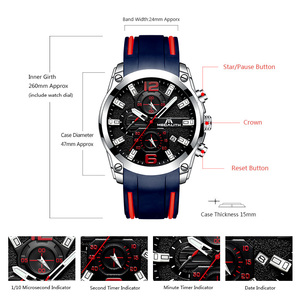 Image 5 - MEGALITH Men Watches Sports Waterproof Chronograph Analog Quartz Watches Luminous Hands Silicone Strap Watches Relogio Masculino