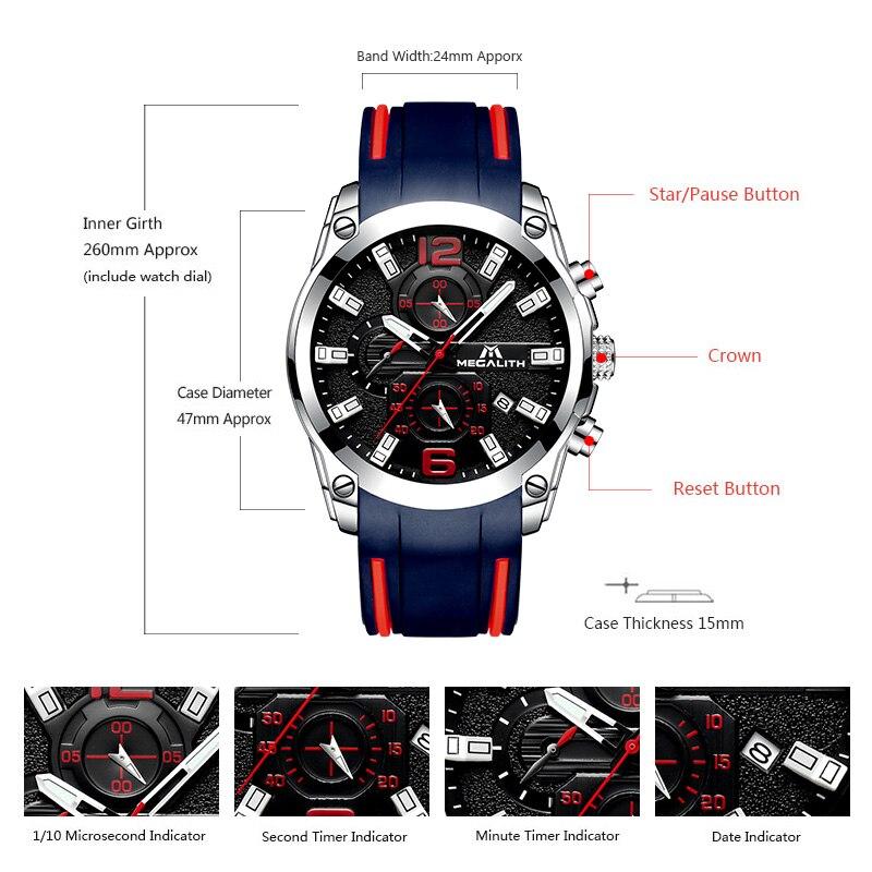 Image 5 - MEGALITH мужские часы спортивные водонепроницаемые аналоговые кварцевые часы с хронографом светящиеся стрелки силиконовый ремешок часы Relogio Masculino-in Спортивные часы from Ручные часы on AliExpress - 11.11_Double 11_Singles' Day