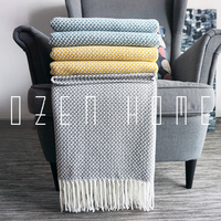 Home Soft Things Boon Knitted Tweed Throw Couch Cover Weighted Tassel Blanket Yllow Gray Blue