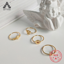 Korea New Design S925 Sterling Silver Creative Simple Fashion Gold Crescent Moon Open Flexible Ring Jewelry for Women