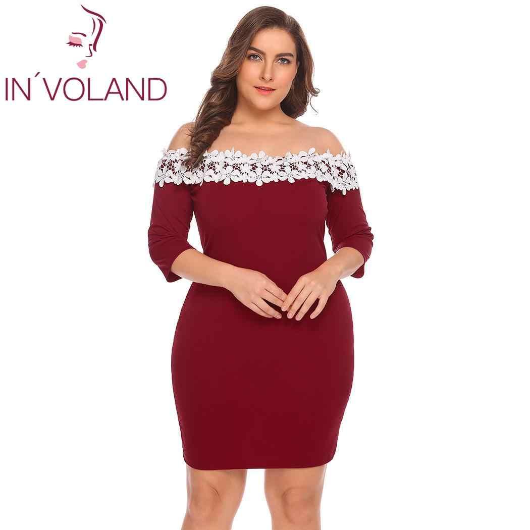 ... IN VOLAND Plus Size Women Dress Off Shoulder 3 4 Sleeve Summer Dress  Lace ... b2a0e9ffe789
