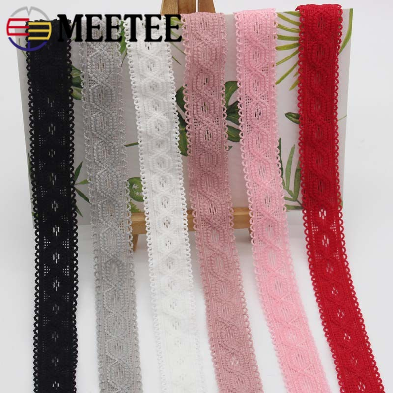 Meetee 22meters 20mm Multicolor Elastic Band Elastic Lace Webbing DIY Baby Hair Band Clothing Sewing Material Elastic Lace EB002