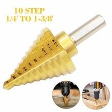 цена на 1/4-1-3/8 Titanium Coated Step Drill Bit Metal Wood Hole Cutter Step Cone Drill Bits