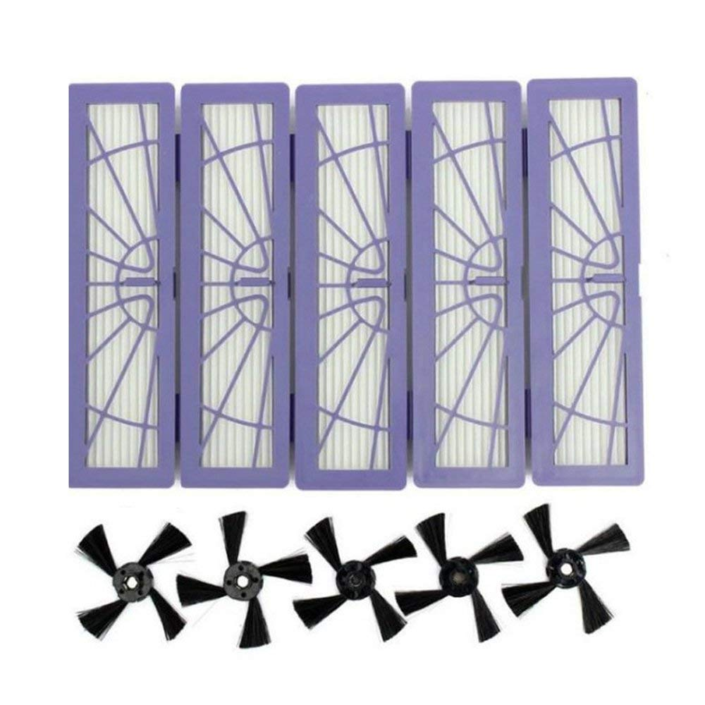 5PCS Side Brushes and 5PCS High-Performance Filter Replacement Accessories Kit for Neato Botvac Connected D Serie 70e D80 D85 5PCS Side Brushes and 5PCS High-Performance Filter Replacement Accessories Kit for Neato Botvac Connected D Serie 70e D80 D85