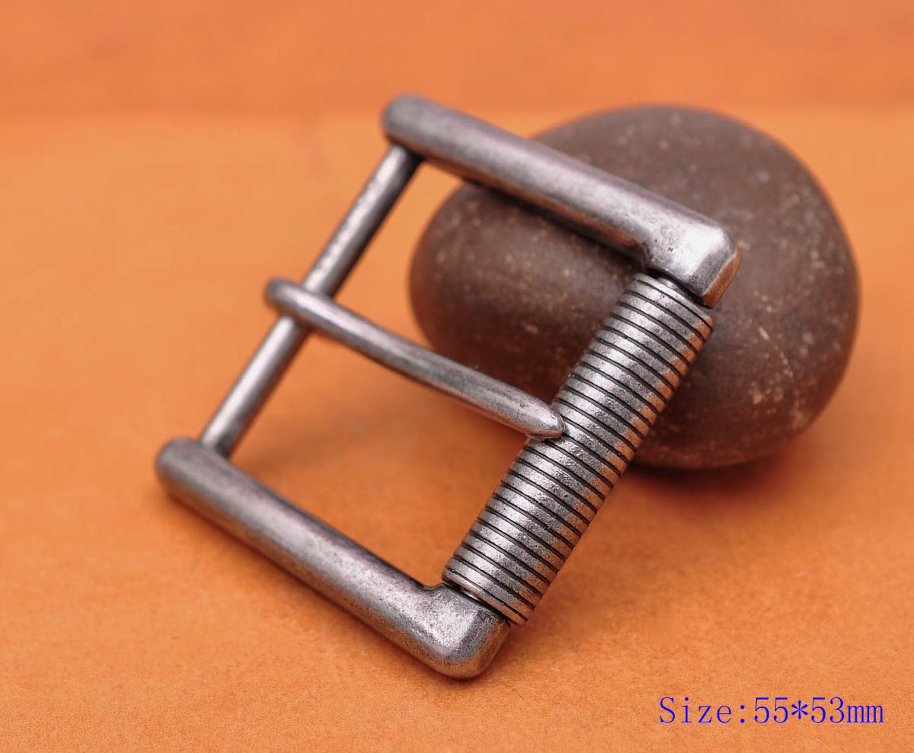 Тяжелая прочная твердая античная серебряная роликовая пряжка с зубцами для кожаного ремня овощей 55*53 мм (внутренняя 40 мм)