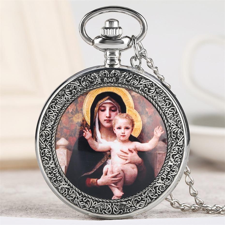 Antique Virgin Mary & Jesus Theme Quartz Pocket Watch Exquisite Vintage Necklace Clock Men Women Souvenir Pendant Watches Gifts