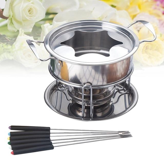 10-Piece Set Multifunctional Stainless Steel Ice Cream Chocolate Cheese Hot Pot Melting Pot Fondue Set Kitchen Accessories 1