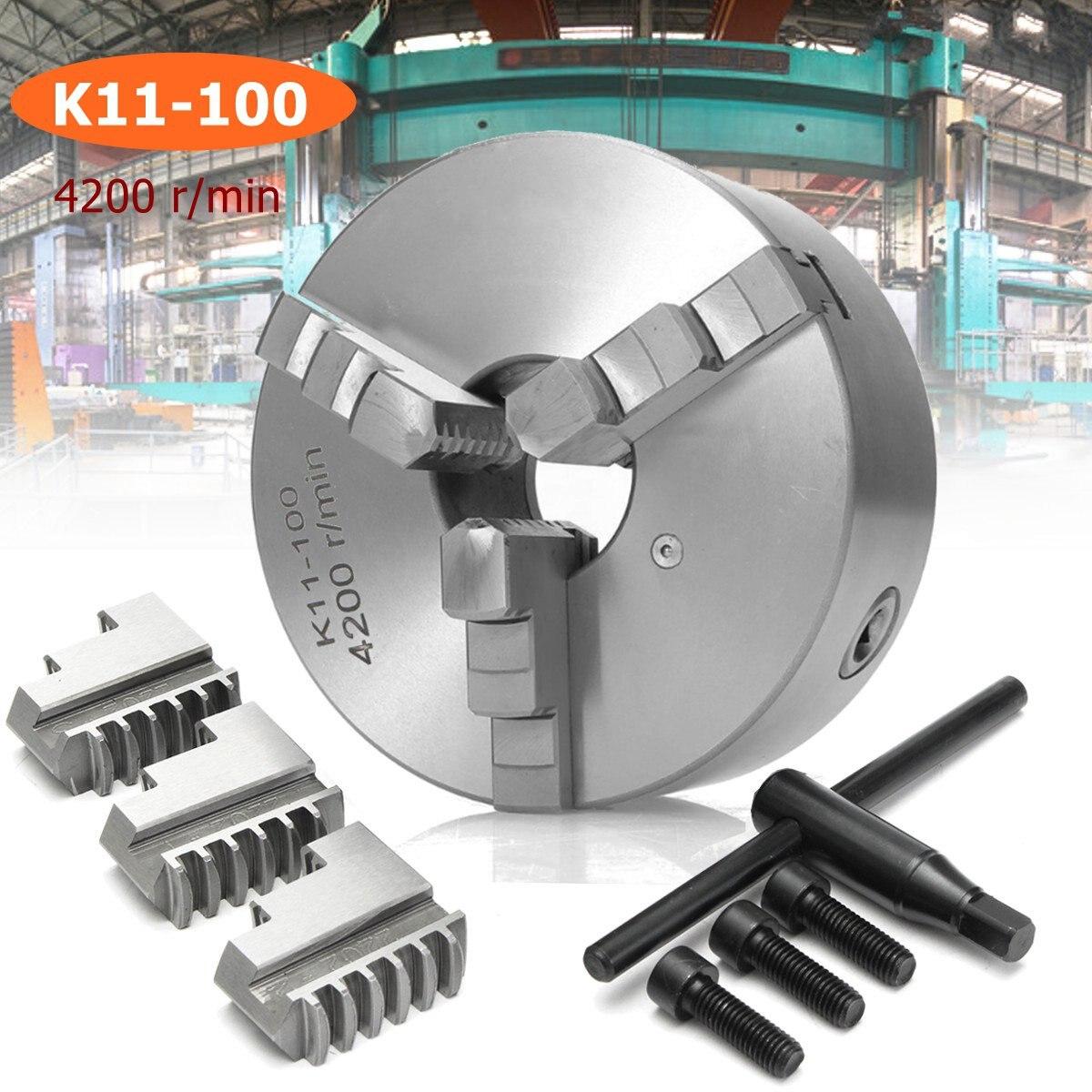 K11-100 3 mâchoires 100mm/4 pouces 4200 r/min en acier trempé tour mandrin auto-centrage clé de sécurité à l'extérieur à l'intérieur des mâchoires boulons de montage