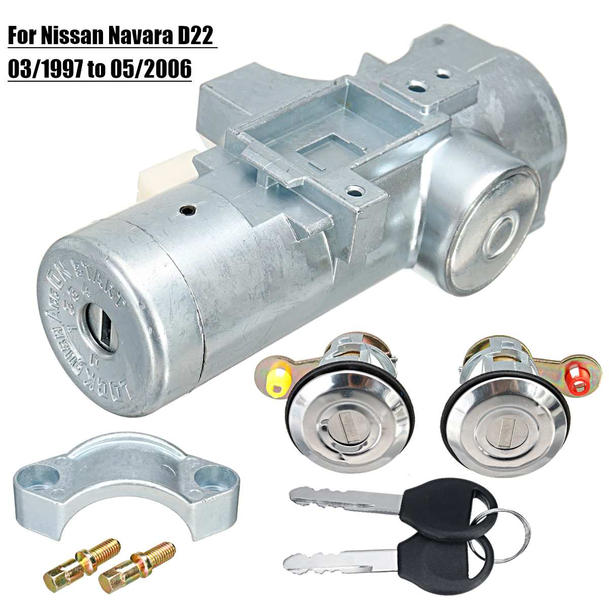 1 Set Door Lock Ignition Switch with 2 Keys for Nissan Navara D22 1997/2003/2005/2006|Starters| |  - title=