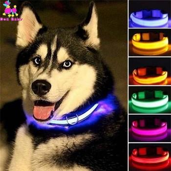 LED z nylonu obroża dla psa świecące dla bezpieczeństwa w nocy świecące w ciemności smycz dla psa opaska na szyję Luminous kołnierze fluorescencyjne zaopatrzenie dla zwierząt domowych tanie i dobre opinie Dogbaby Obroże Podstawowe obroże Wszystkie pory roku Stałe LIGHTS Spersonalizowane Quick release