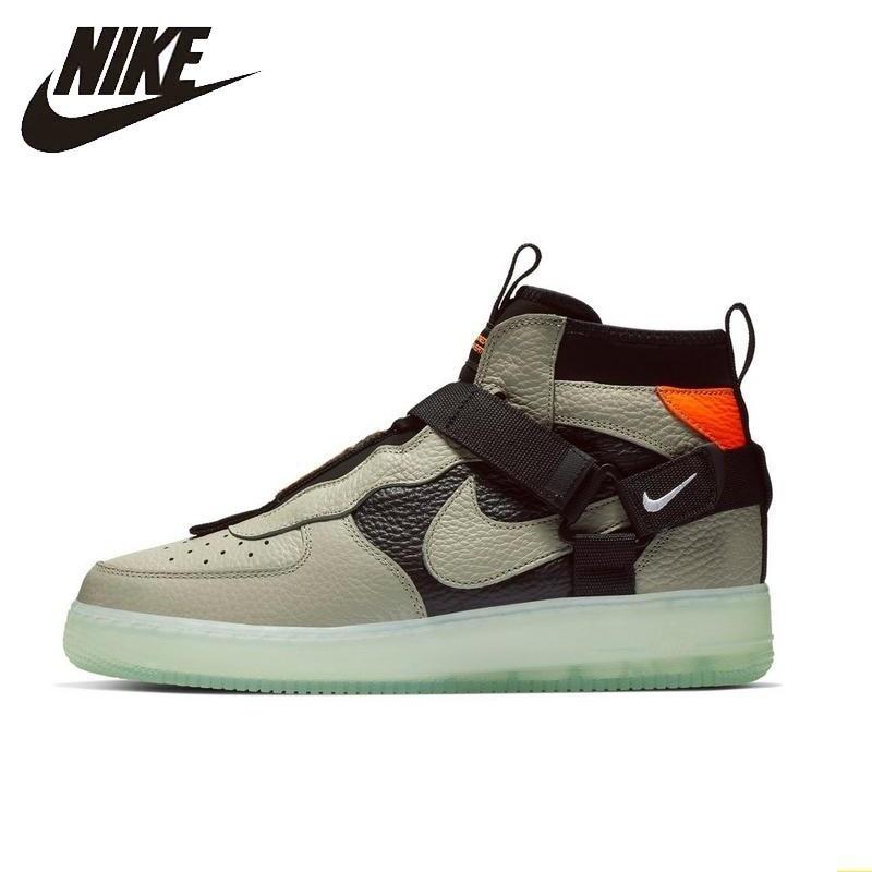 NIKE AIR FORCE 1 UTILITY MID AF1 nueva llegada hombres Skateboard Zapatos negro verde antideslizantes zapatillas cómodas # AQ9758-300