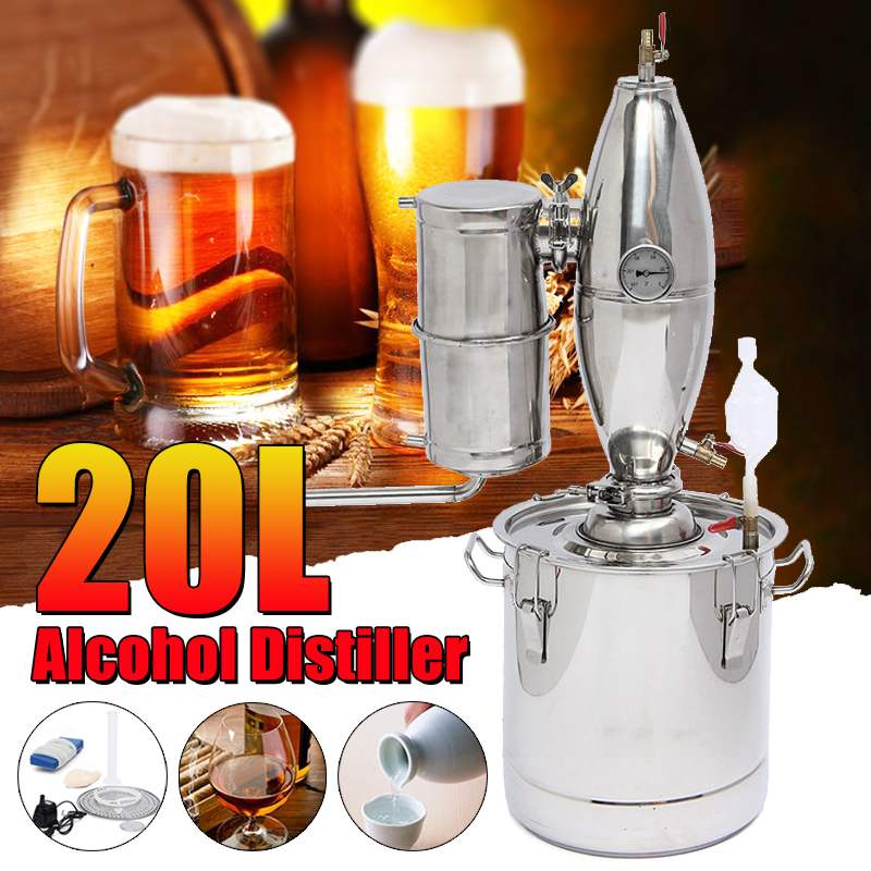 20L DIY Home Distiller Moonshine Alcohol Stainless Copper Water Wine Essential Oil Brewing Kit