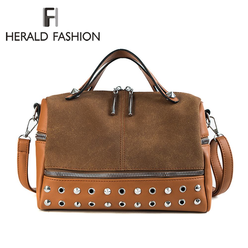 Herald Fashion Vintage Nubuck Leather Female Top-handle Bags Rivet Larger Women Bags Ladies' Shoulder Bag Motorcycle Bag Sac цена