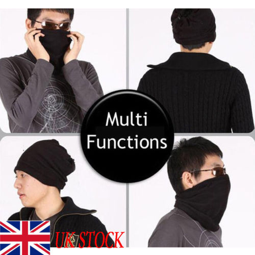 Men's Bandana Face Shield Mask Fishing Headwear Biker Neck Tube Scarf Black Hat