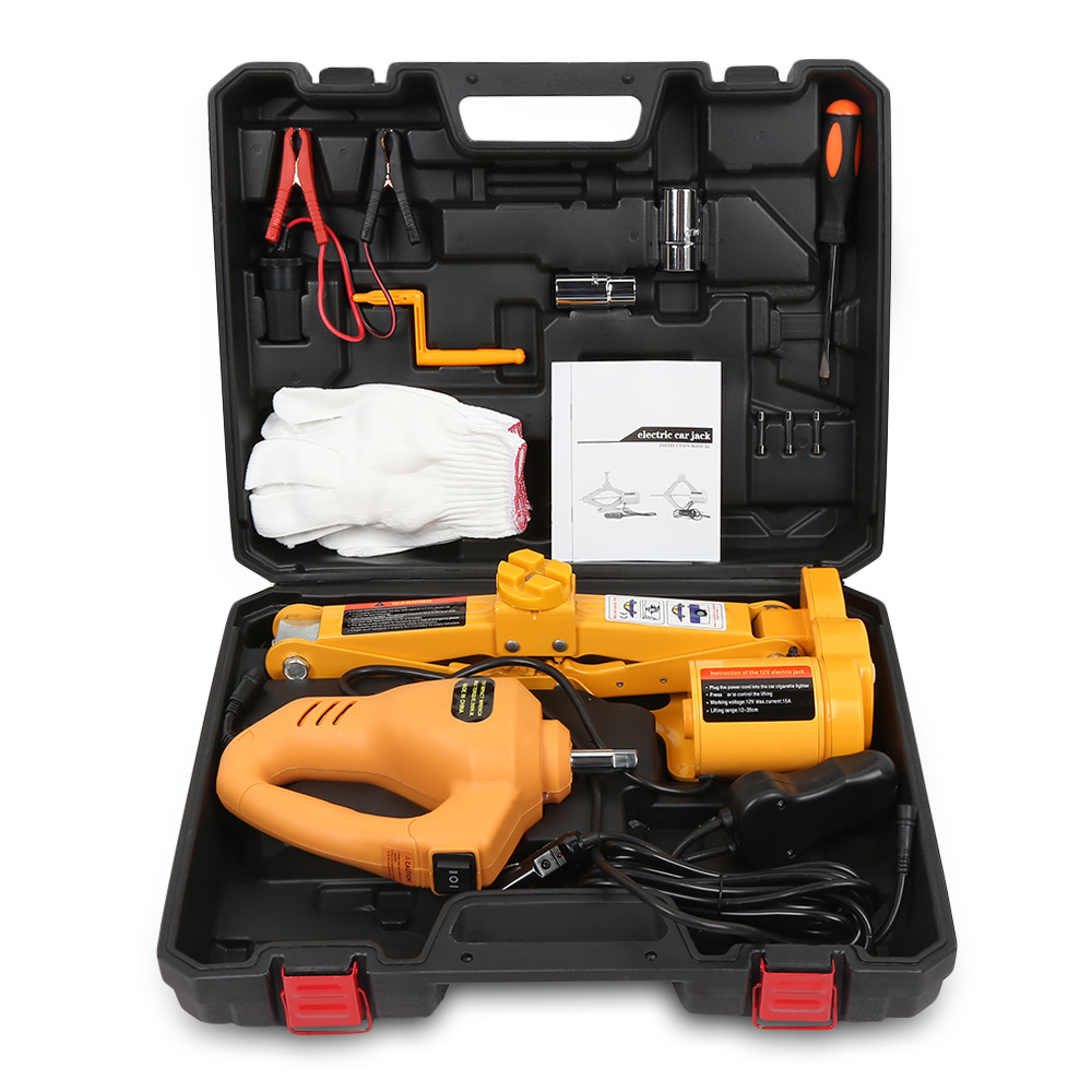 12V Car Repair Tool Electric Hydraulic Floor Jack Lifting Set Impact Wrench Tool With LED Light Remote Control Tool Set