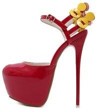 Women High Platform Pumps Shoe Red Leather Flower Pumps Ultra Thin High Heel Stiletto Women Wedding Shoes Buckle Strap Shoe цены онлайн