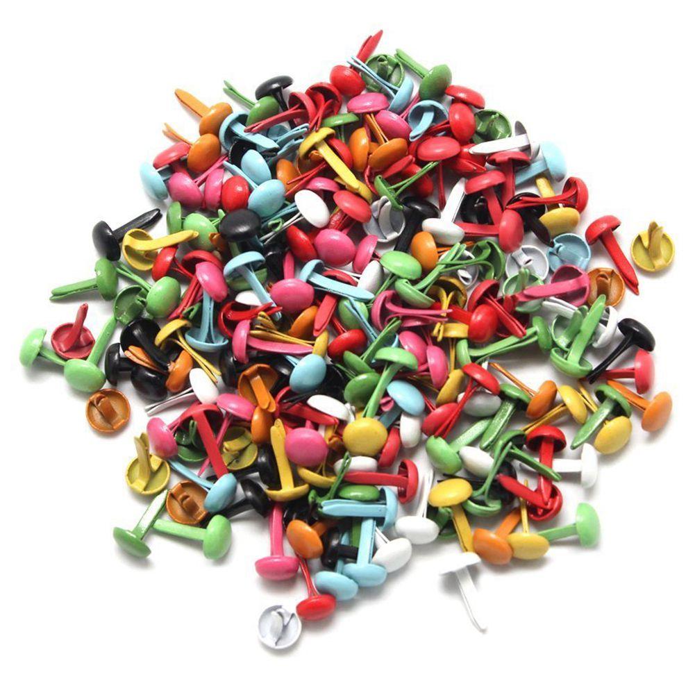 CNIM Hot Set Of 200 Mini Parisian Fasteners Multicolor Paper Craft Stamping Scrapbooking DIY Tool 4.5mm