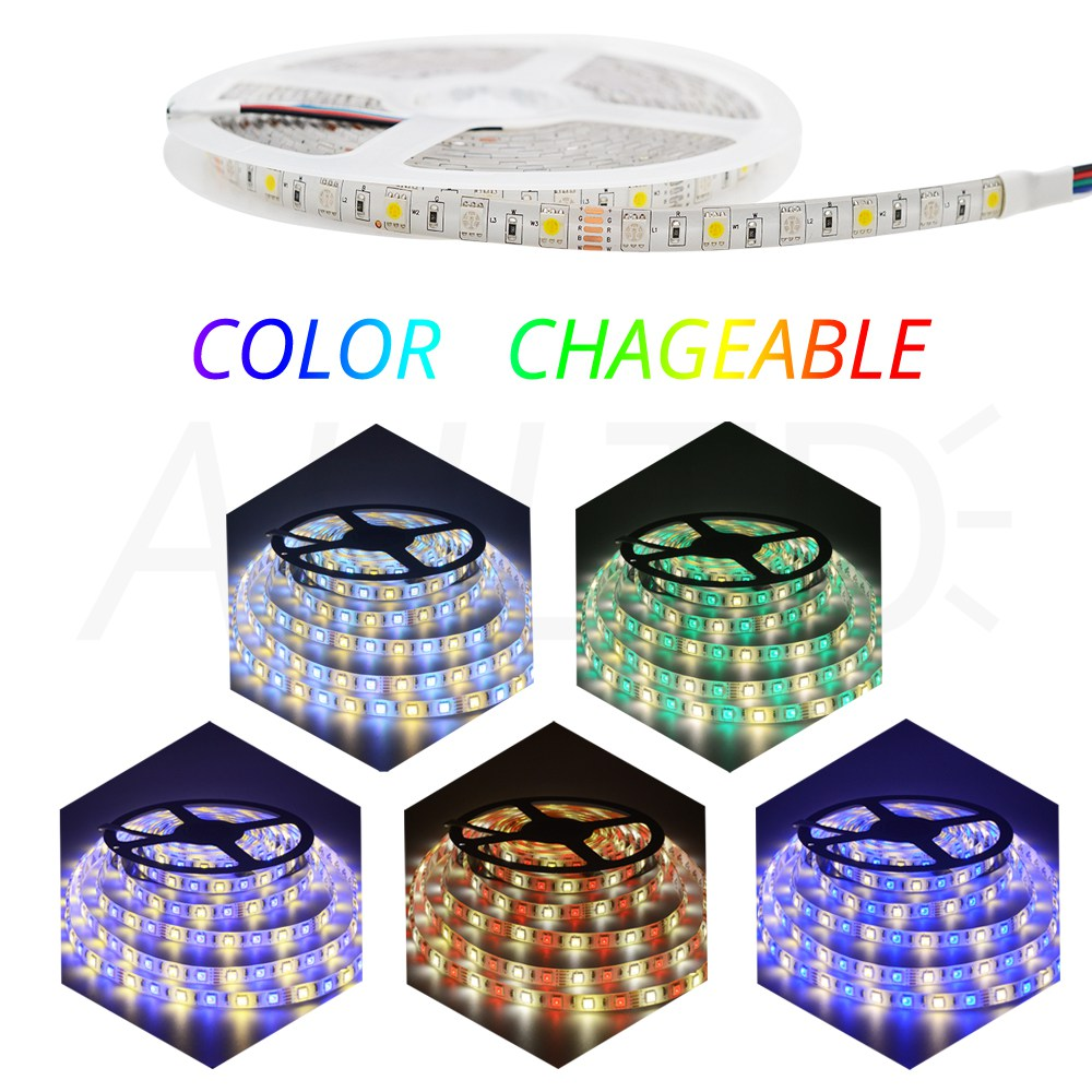5050 DC 12V 5M RGBWW LED Strip Waterproof Non Waterproof RGBWW Light Flexible with 3A Power and Remote Controller full set in LED Strips from Lights Lighting