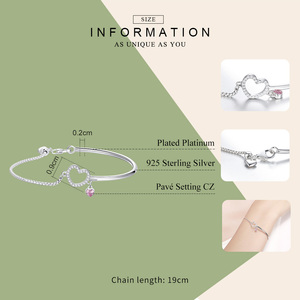 Image 2 - BAMOER Romantic New 100% 925 Sterling Silver Heart Pink CZ Chain Link Bangles Bracelets for Women Sterling Silver Jewelry SCB117
