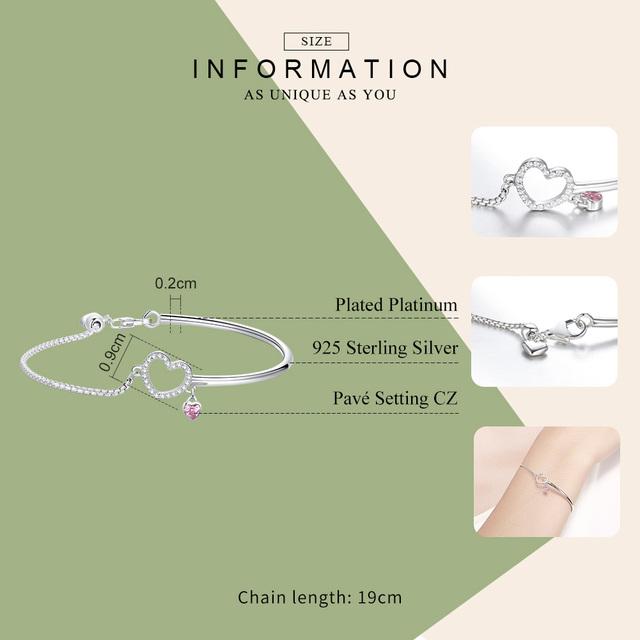 Romantický strieborný náramok SRDCE Silver bracelet HEART