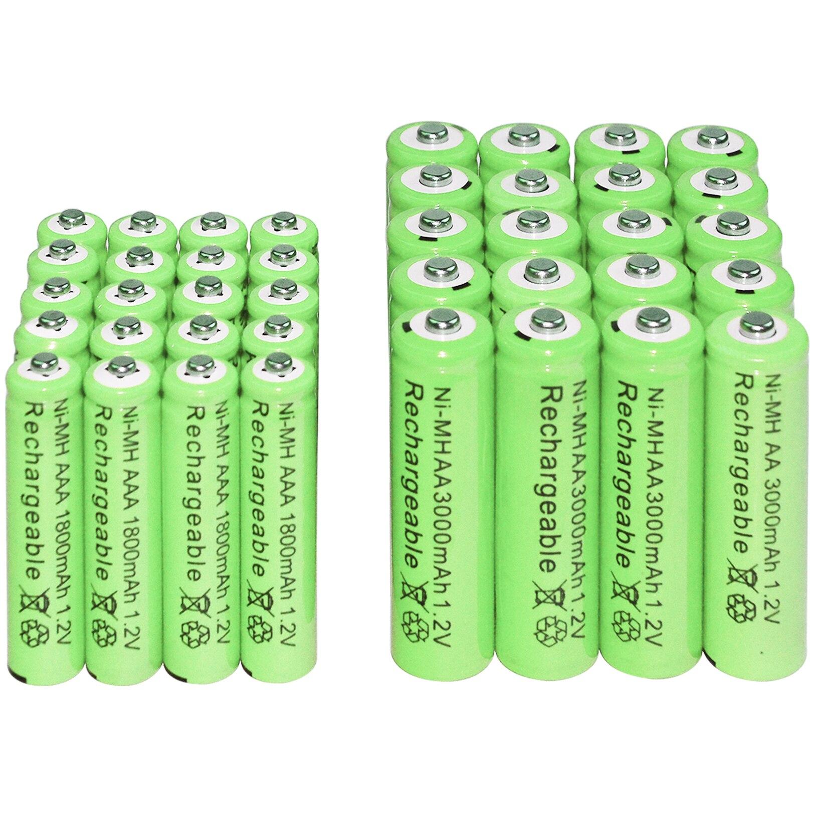 2/6/12/16/20/24/30pcs AAA 1800mAh + AA 3000mAh 1.2v Ni-MH Rechargeable Batteries green