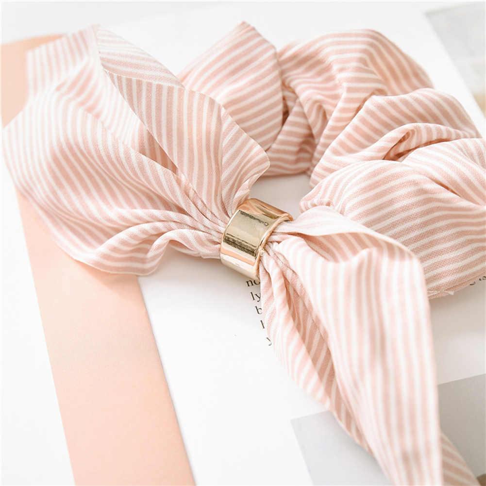 Accessori per capelli a strisce per orecchie di coniglio carino coreano fibbia in plastica Scrunchies per capelli fasce per capelli elastici cravatte fasce di corda fasce di coda di cavallo