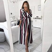 Striped Button Shirt Dress 2019 Womens Vacation Bohemian Beach Sexy Deep Loose Summer Casual Women