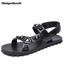 цена на Black Rivet Men Leather Sandals Trendy Gladiator Rome Style Hook Loop Sandal Summer Casual Shoes Man