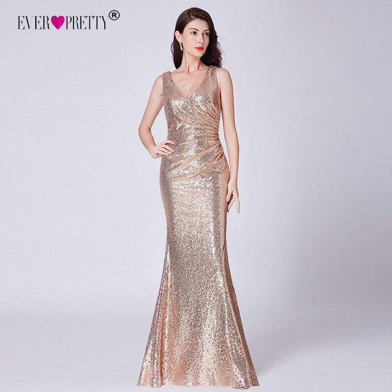 Sequined   Prom     Dresses   2019 Ever Pretty Elegant Little Mermaid V Neck Rose Gold Wedding Guest Party   Dresses   Vestido De Fiesta