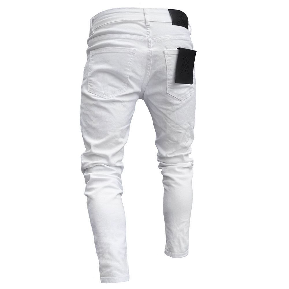 3 Styles Men Stretchy Ripped Skinny Biker Embroidery Print Jeans Destroyed Hole Taped Slim Fit Denim Scratched High Quality Jean 3
