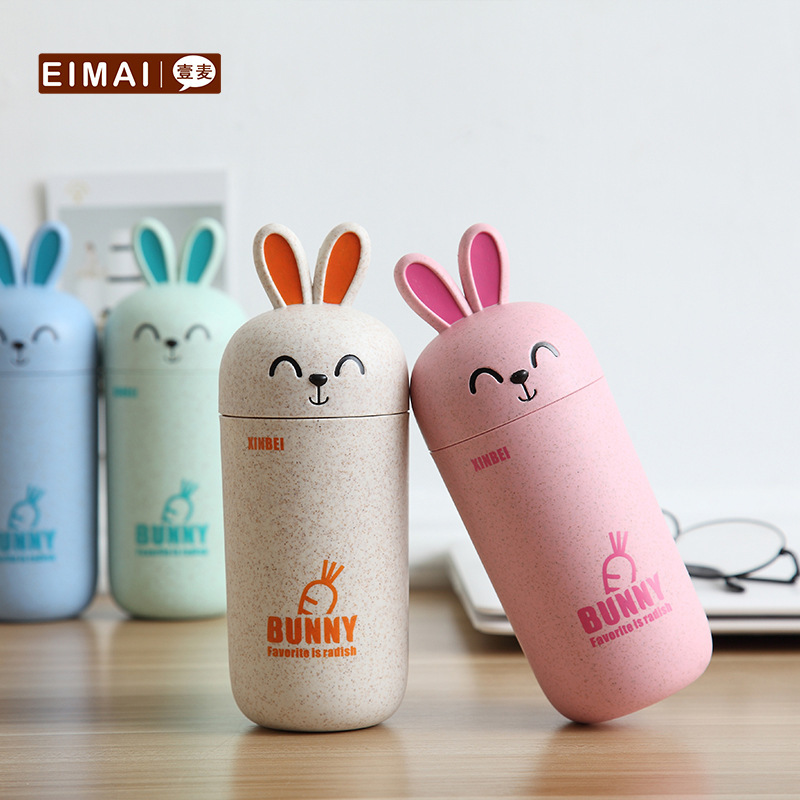 Wheat Straw Rabbit <font><b>Coffe</b></font> <font><b>Cup</b></font> Student Lovely Portable Coffee Mugs Travel Tea Tasse Cafe Drinkware Accessories Lid Handgrip image