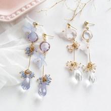 Korean New Purple Crystal Water Drop Earrings Cute/Romantic Flower Shape Pendant Earring