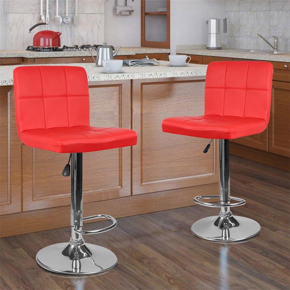 2PCS Modern Stylish Bar Chair Adjustable Stool Height Lift Swivel Bar Chair Unique Design Six Grid Soft Synthetic Bar Chair HWC