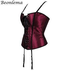 Image 2 - Beonlema السيدات مثير بوستير القوطية النبيذ الأحمر Overbust جلد يصل مشد الجسم النمذجة حزام Korset المرأة زائد حجم مثير Clubwear