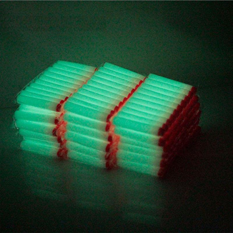 100/200/300PCS Luminous For Nerf Bullets Soft Hollow Hole Head 7.2cm Refill Luminous Darts Toy  For Nerf Kid Children Gift