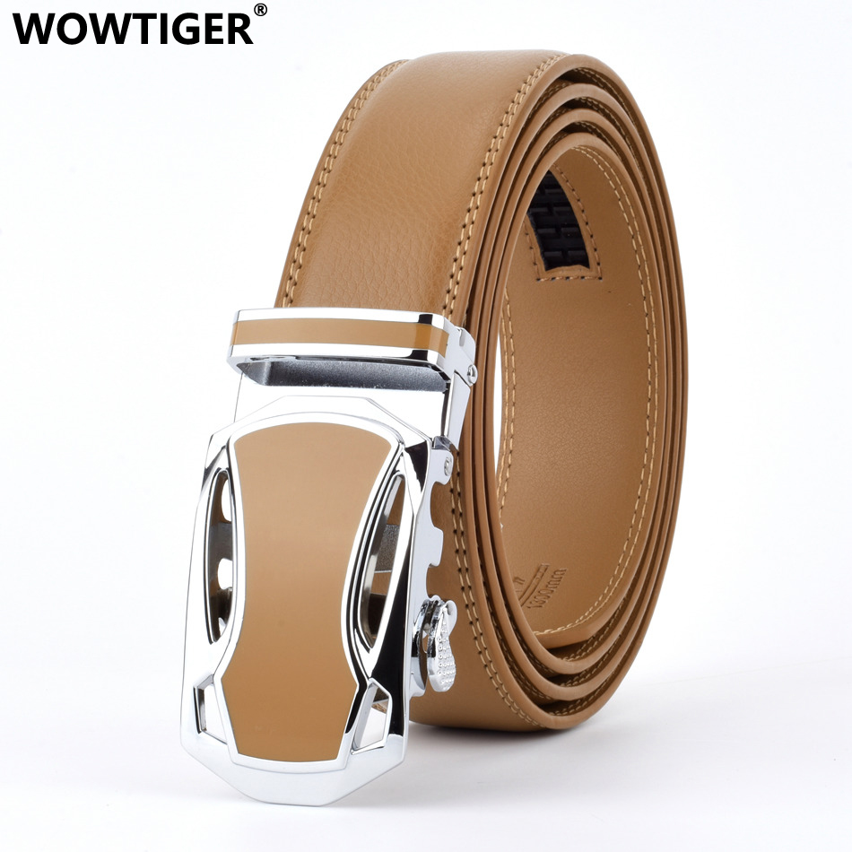 WOWTIGER Designers Men black Automatic Buckle Leather luxury Belt Male Alloy buckle Belts for Men Ceinture Homme Cinto Masculino