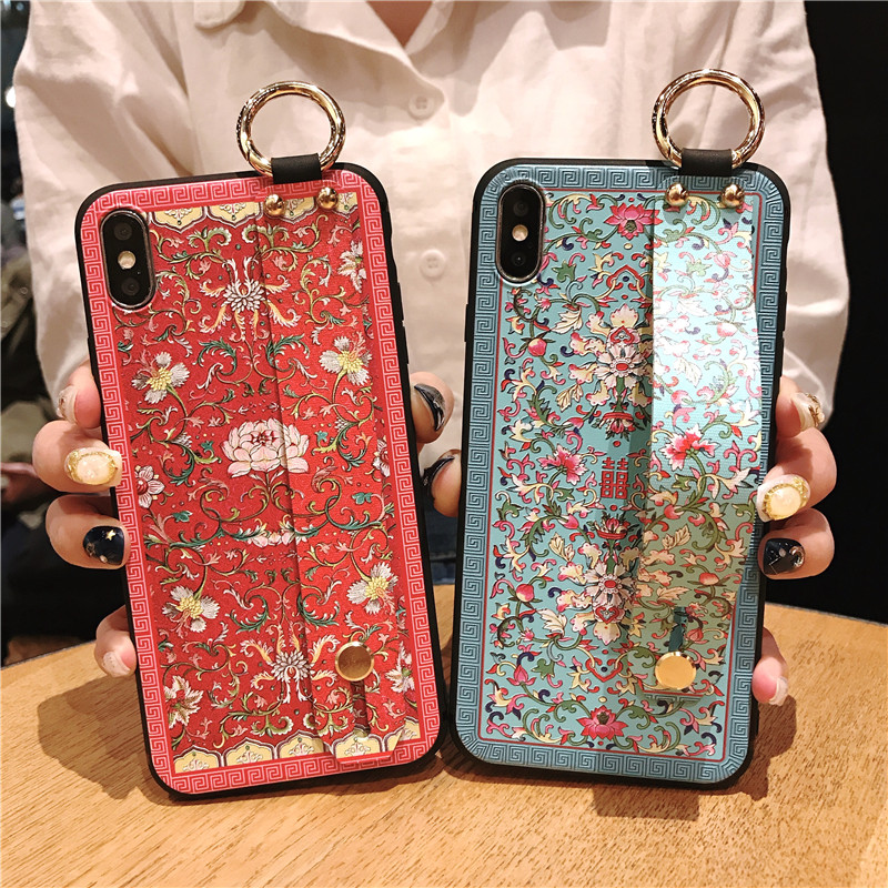 ced520aa0d9c Retro Flower Case For Iphone XS Max X XS XR 5S SE 6S 7 8 Plus Wrist Strap  Hand Band Cases Soft TPU Relief Cover Kickstand Coque