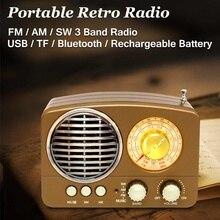 Портативный 5 Вт Ретро винтажный беспроводной bluetooth динамик Мультимедиа Hi-Fi стерео гарнитура Поддержка FM AM SW USB AUX TF карта