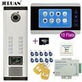 JERUAN Wohnung 7 inch Farbe Video Intercom Record Monitor Zugang Kamera Hause Tor Eintrag Security Kit für 10 Familien-in Videosprechanlage aus Sicherheit und Schutz bei
