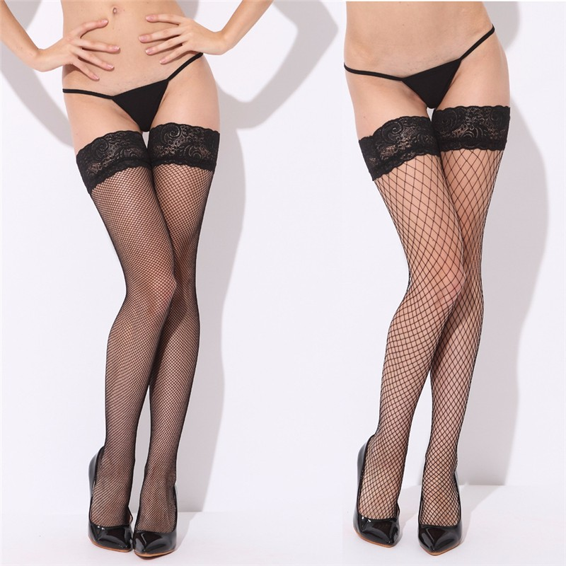 Sexy Mesh Stockings Women Sexy Lace Top Sheer Stay Up Knee Thigh High Silicone Stockings Fishnet Pantyhose Woman meias hosiery