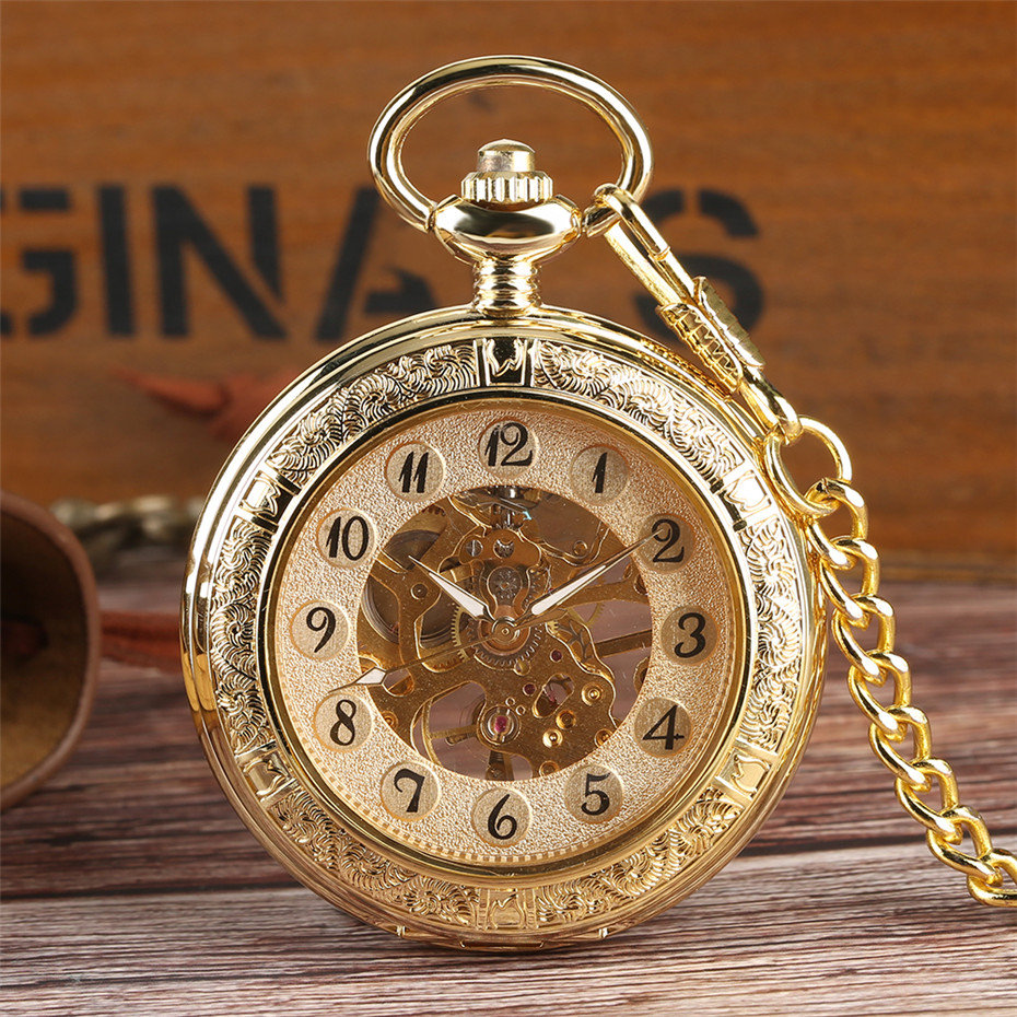Transparent Hunter Mechanical Pocket Watch For Men Gentlemen Gold Fob Pendant Watch With Chain Watch Reloj Hand-Wind Luxury