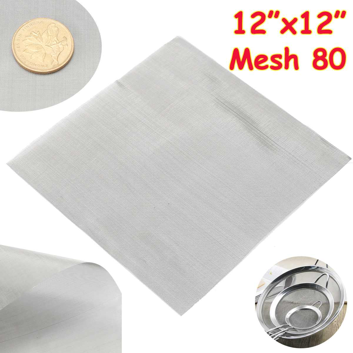 1pc 80 Mesh Woven Wire Cloth Screen Filtration 304 Stainless Steel 30x30cm With High Temperature Resistance