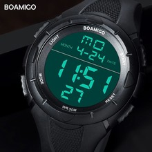BOAMIGO Brand Digital Watch Sport Men Military LED Watch Mens Fashion Shock Electronic Wrist Watches Gift Clock Water Resistant
