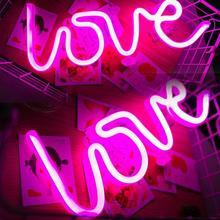 Неоновый светильник с романтическими розовыми любовными буквами светодиодный светильник ing Pannel зарядка через usb Домашний Декор лампа для комнаты свадебный фестиваль вечерние ночной Светильник