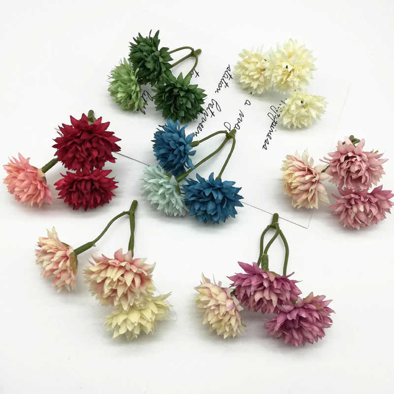 1pcs A bunch of three small  Artificial Flowers Bouquet for Wedding Home Decoration chrysanthemum Silk high quality Fake Flowers